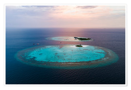 Póster Premium  Islands at sunset in the Maldives - Matteo Colombo