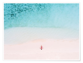 Póster Premium  Drone view of woman on the beach, Maldives - Matteo Colombo