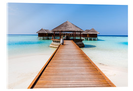 Quadro em acrílico  Jetty and overwater bungalows, Maldives - Matteo Colombo