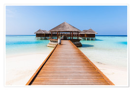 Póster Premium  Jetty and overwater bungalows, Maldives - Matteo Colombo