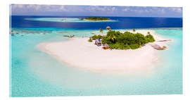 Quadro em acrílico  Aerial view of island in the Maldives - Matteo Colombo