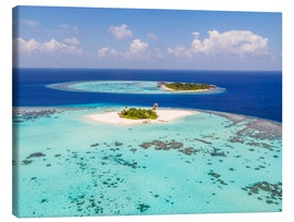 Quadro em tela  Aerial view of islands in the Maldives - Matteo Colombo