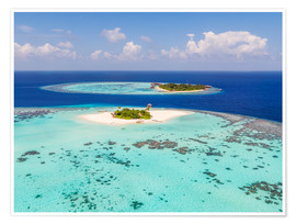 Póster Premium  Aerial view of islands in the Maldives - Matteo Colombo