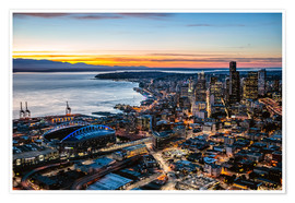 Póster Premium  Seattle downtown and harbour at night, USA - Matteo Colombo