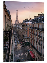 Quadro em acrílico  Street in Paris with Eiffel tower at sunset - Jan Christopher Becke