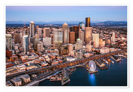 Póster Premium Aerial view of Seattle skyline, USA