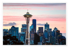 Póster Premium Space Needle and Seattle skyline, USA
