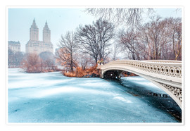 Póster Premium  Central Park Winter, Bow Bridge - Sascha Kilmer