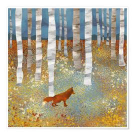Póster Premium  Autumn Fox - SpaceFrog Designs
