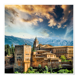 Póster Premium View of the famous Alhambra