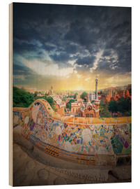 Quadro de madeira  The famous park Guell in Barcelona