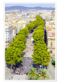 Póster Premium  Barcelona and Las Ramblas with the Columbus Column