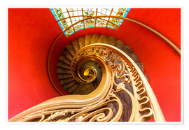 Póster Premium  Spiral staircase in Brittany
