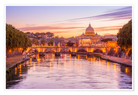 Póster Premium  Skyline of Rome in a magenta dawn