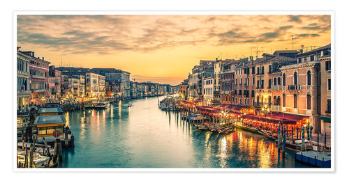 Póster Premium Grand Canal at the blue hour