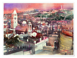 Póster Premium  Jerusalem, Old Town with Church of the Redeemer - Johann Pickl