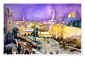 Póster Premium  Jerusalem, Dome of the Rock with Wailing Wall - Johann Pickl