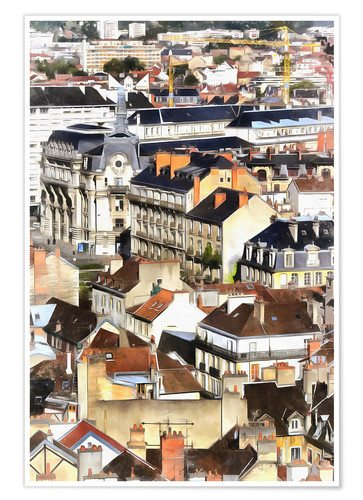 Póster Premium Colorful painting of Dijon
