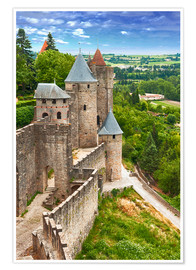 Póster Premium  Fortress Carcassonne in France, Languedoc