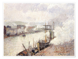 Póster Premium Steamboats in the Port of Rouen