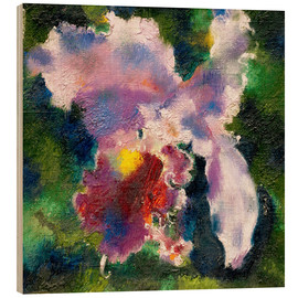 Quadro de madeira  Orchid on a green background - Augusto Giacometti