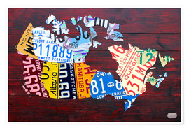 Póster Premium  License Plate Map of Canada - Design Turnpike