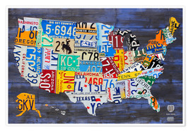 Póster Premium  License plate map of the USA - Design Turnpike