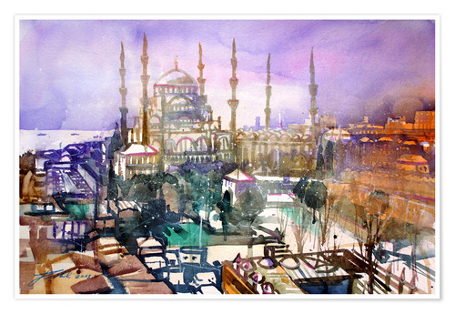 Póster Premium Istanbul, view to the blue mosque