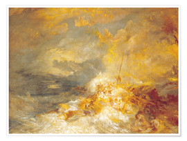 Póster Premium  Fire at sea - Joseph Mallord William Turner
