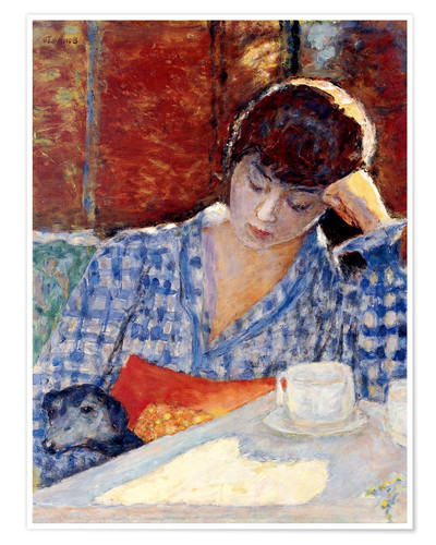 Póster Premium Woman with a dog