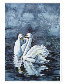 Póster Premium Swan Couple