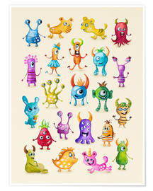 Póster Premium Illustration of colorful monsters