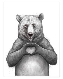 Póster Premium Bear with heart