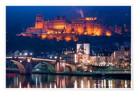 Póster Premium Castle and Old Bridge at night, Heidelberg, Baden-Wurttemberg, Germany