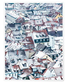 Póster Premium  Snowy rooftops in the old town of Heidelberg - Jan Christopher Becke