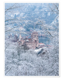 Póster Premium Castle in the snow, Heidelberg, Baden-Wurttemberg, Germany