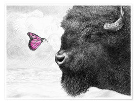 Póster Premium Bison And Butterfly