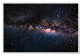 Póster Premium The Milky Way galaxy, details of the colorful core.