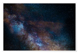 Póster Premium  The Milky Way galaxy, details of the colorful core - Fabio Lamanna