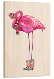 Quadro de madeira  Flamingo rosa com botas de borracha - Kidz Collection