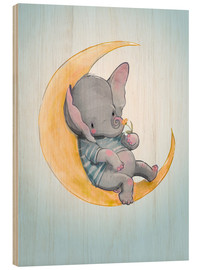 Quadro de madeira  Elefante na lua - Kidz Collection
