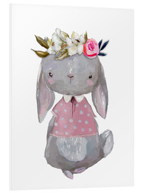 Quadro em PVC  Summer bunny with flowers in her hair - Kidz Collection