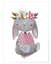 Póster Premium  Summer bunny with flowers in her hair - Kidz Collection