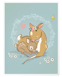 Póster Premium  Fawn mother and child - Kidz Collection