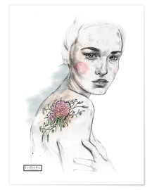 Póster Premium Flower tattoo