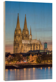 Quadro de madeira  The Cologne Cathedral in the evening - Michael Valjak