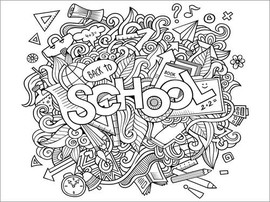 Póster para colorir  Back to school