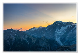 Póster Premium Monte Bianco or Mont Blanc at sunrise, italian side