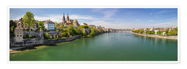 Póster Premium Panorama Basel old town on the Rhine (Switzerland)