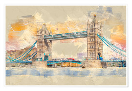 Póster Premium  London Tower Bridge - Peter Roder